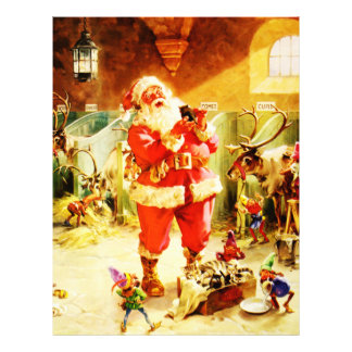 Santa and His Elves in The North Pole Stables Custom Letterhead