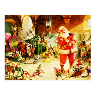 Santa and His Elves in The North Pole Stables Post Card