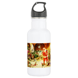 Santa and His Elves in The North Pole Stables Water Bottle