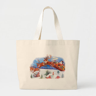 Santa and His Flying Reindeer Canvas Bag