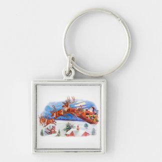 Santa and His Flying Reindeer Keychain