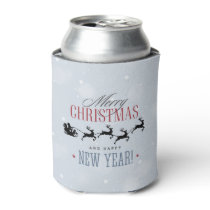 Santa and his Flying Reindeer Silhouette Christmas Can Cooler