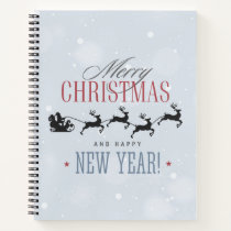 Santa and his Flying Reindeer Silhouette Christmas Notebook