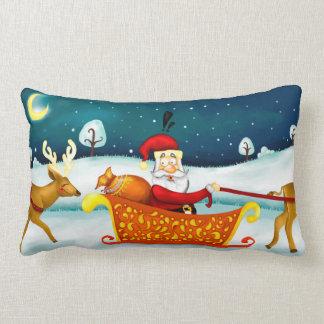 Santa and his funny deer pillow