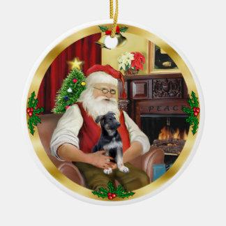 Santa and his German Shepherd Pup Ceramic Ornament