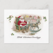 Santa and His List with Rocking Horse Holiday Postcard