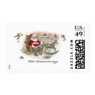 Santa and His List with Rocking Horse Postage Stamps