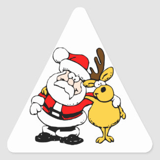 Santa and His Reindeer Buddy Triangle Sticker