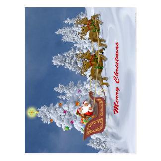 Santa and his Reindeer Greetings Cards