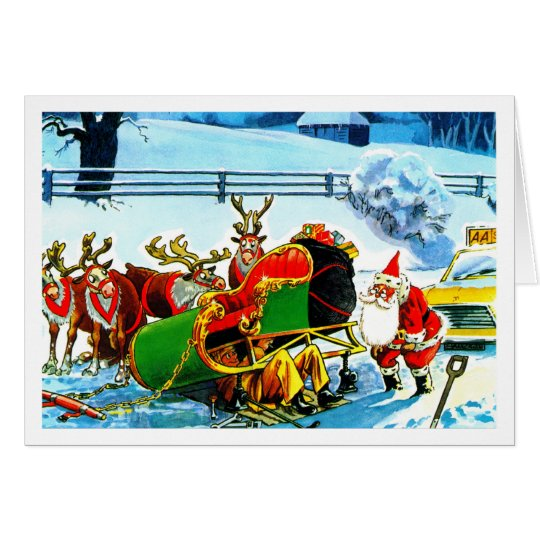 SANTA AND HIS REINDEER HELPED BY THE AA CARD