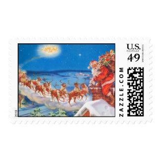 Santa and His Reindeer Postage