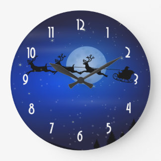 Santa and his reindeers flying at night large clock