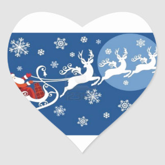 Santa and His Reindeers Heart Sticker