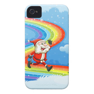 Santa and his sleigh walking at the rainbow Case-Mate iPhone 4 case