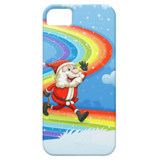 Santa and his sleigh walking at the rainbow iPhone SE/5/5s case