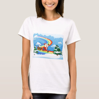 Santa and his sleigh walking at the rainbow T-Shirt