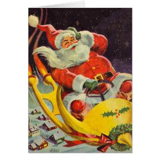 Santa and his space car card