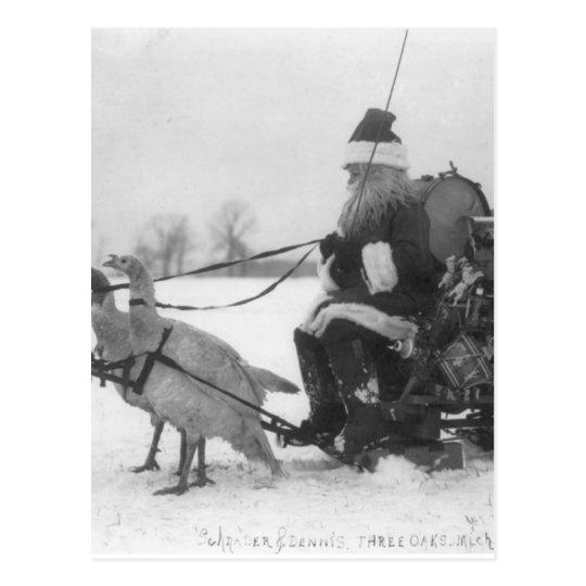 Santa and His Turkey Reindeer Postcard