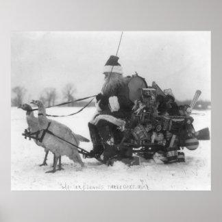 Santa and His Turkey Reindeer Posters