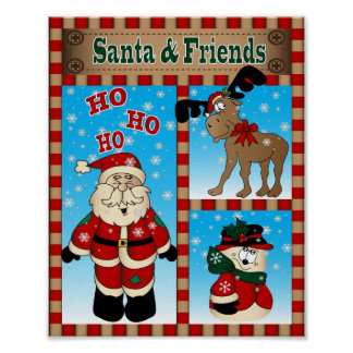 Santa and his Winter Friends Poster