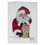 Santa and his Yorkie Christmas Card