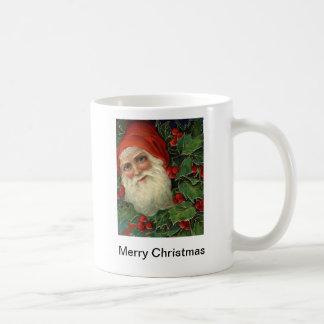 santa and holly mug