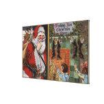 Santa and Kids looking up Chimney Canvas Print
