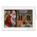 Santa and Kids looking up Chimney Greeting Card