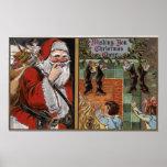Santa and Kids looking up Chimney Poster