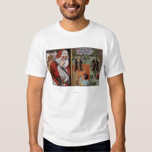 Santa and Kids looking up Chimney T-shirts