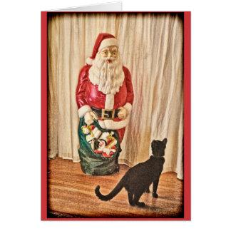 Santa and kitty card