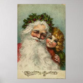 Santa and Little Girl Christmas Greetings Card Poster