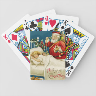Santa and Little Sleeping Girl Bicycle Playing Cards
