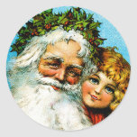 Santa and Me Round Stickers