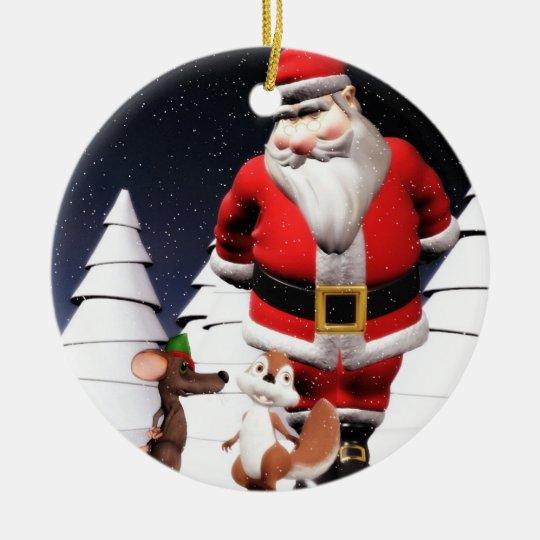 Santa and mouse Christmas ornament