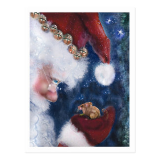 Santa and Mouse Postcard