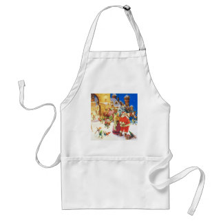 Santa and Mrs. Claus at the North Pole Adult Apron