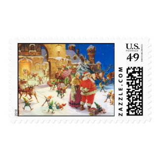 Santa and Mrs. Claus at the North Pole Stamp