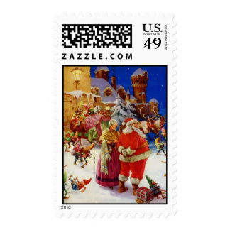 Santa and Mrs. Claus at the North Pole Postage