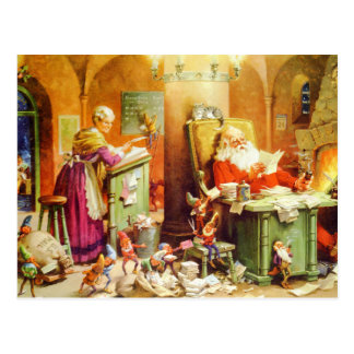 Santa And Mrs. Claus at the North Pole Postcard