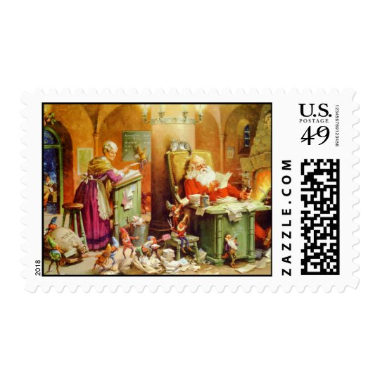 Santa and Mrs. Claus go through the mail Postage