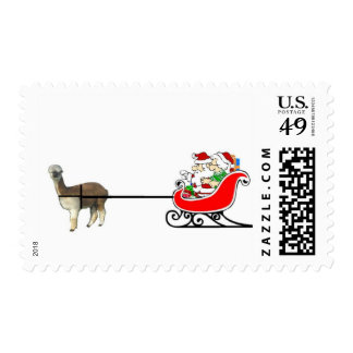 Santa And Mrs. Claus In Alpaca Sleigh Postage Stamp