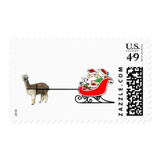Santa And Mrs. Claus In Alpaca Sleigh Stamps