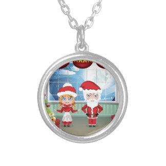 Santa and Mrs Claus in the House 2 Round Pendant Necklace