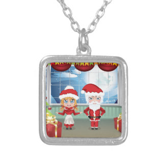 Santa and Mrs Claus in the House 2 Square Pendant Necklace