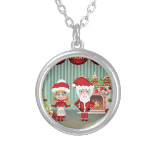 Santa and Mrs Claus in the House Round Pendant Necklace