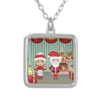 Santa and Mrs Claus in the House Square Pendant Necklace