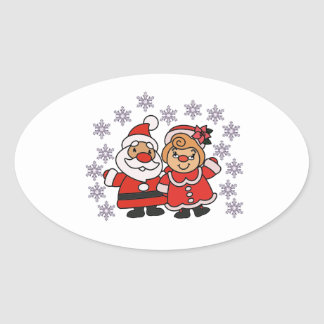 Santa and Mrs Claus Oval Sticker