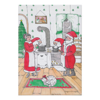 Santa and Mrs. Claus Poster Print
