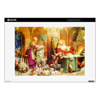 """Santa and Mrs Claus Reading Mail at the North Pole 15"""" Laptop Decals"""
